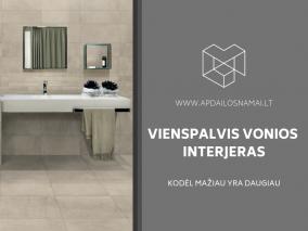 Vienspalvis vonios kambario interjeras